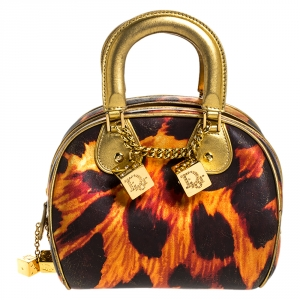 Dior Metallic Gold/Orange Printed Leather Gambler Dice Bowling Bag