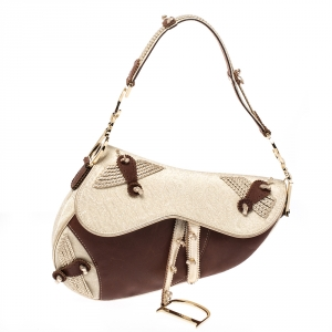 Dior Brown/Gold Leather and Fabric Braided Saddle Bag