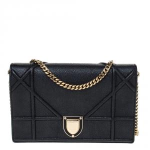 Dior Black Leather Mini Diorama Chain Shoulder Bag