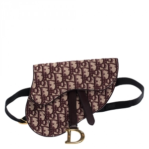 Dior Maroon Oblique Canvas and Leather Saddle Belt Bag