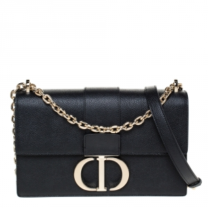 Dior Black Leather 30 Montaigne Shoulder Bag