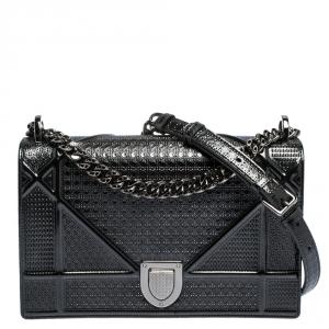 Dior Metallic Grey Patent Leather Medium Diorama Shoulder Bag