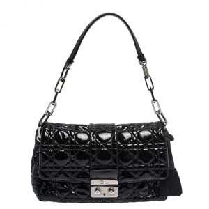 Dior Black Cannage Patent Leather Medium New Lock Shoulder Bag