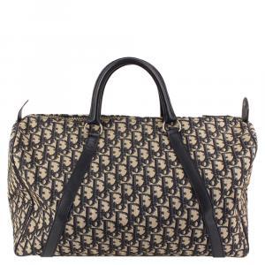 Dior Black Signature Canvas Trotter Boston Bag