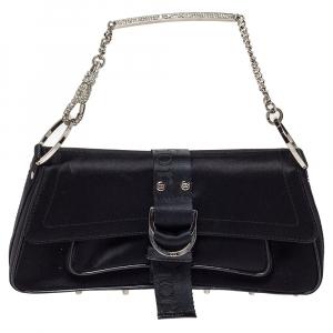 Dior Black Satin Flap Crystal Embellished Chain Baguette
