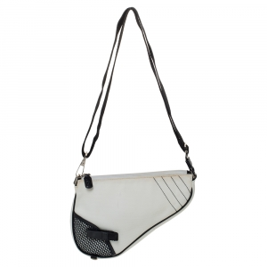 Dior White/Black Nylon and Mesh Saddle Bag