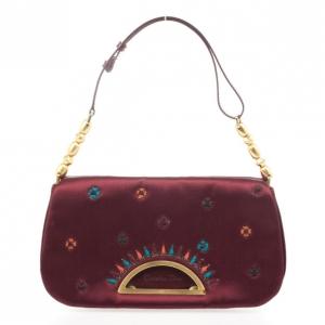 Dior Pink Sateen 'Maris Pearl'  Embroidered Shoulder bag