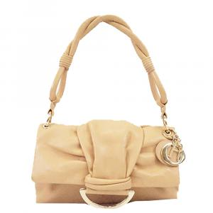 Dior Beige Leather Bow Flap Shoulder Bag