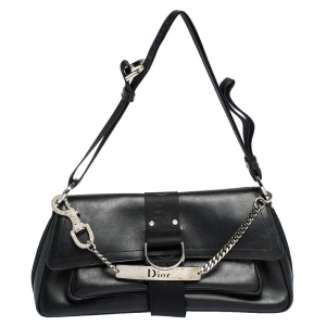 Dior Black Leather Vintage Flap Shoulder Bag