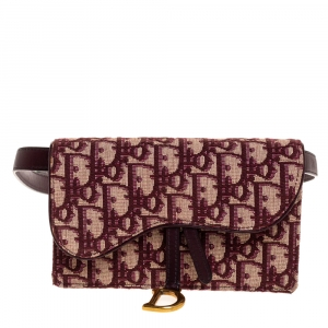 Dior Burgundy/Beige Oblique Canvas and Leather Saddle Belt Bag