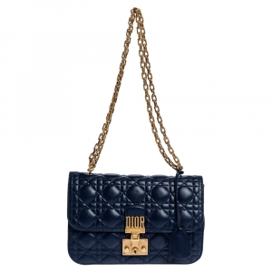 Dior Blue Leather Dioraddict Flap Shoulder Bag
