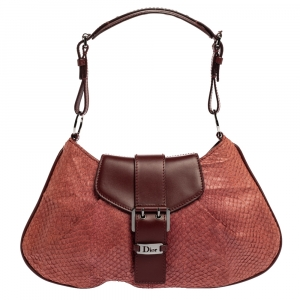 Dior Burgundy Python and Leather Vintage Shoulder Bag