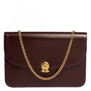 Dior Burgundy Leather Chain Shoulder Bag
