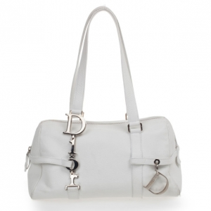 Dior White Leather Cannage Small Satchel