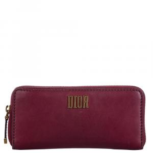 Dior Purple/Red Leather Long Wallet