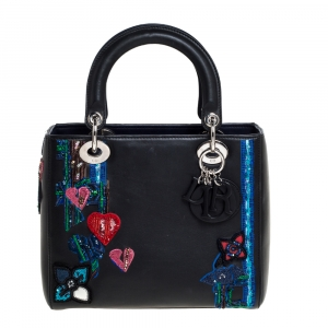 Dior Black/Blue Leather Medium Heart Patch Embellished Lady Dior Tote