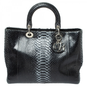 Dior Black/Silver Python Large Lady Dior Tote