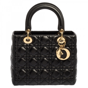 Dior Black Leather Medium Lady Dior Tote