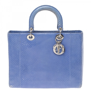 Dior Cornflower Blue Python Large Lady Dior Tote