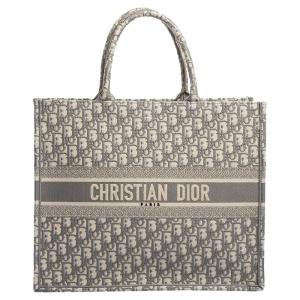 Dior Grey Oblique Canvas Book Tote