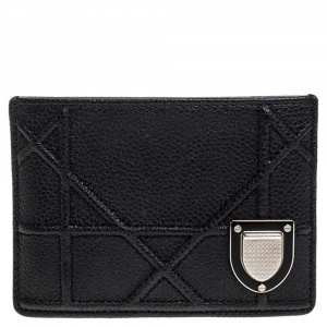 Dior Black Leather Diorama Card Holder