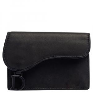 Dior Navy Blue Leather Saddle Card Holder