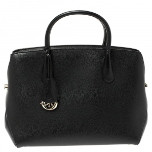 Dior Black Grained Leather Large Open Bar Tote