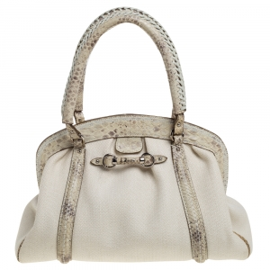 Dior Beige/Off White Canvas and Python Trim Frame Satchel