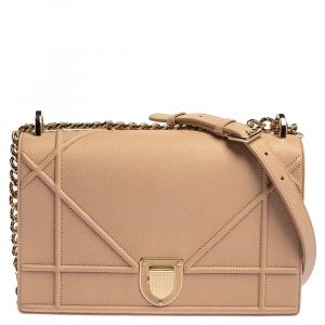 Dior Peach Leather Medium Diorama Flap Shoulder Bag