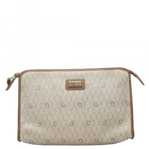 Dior Brown Leather and PVC Honeycomb Clutch Bag