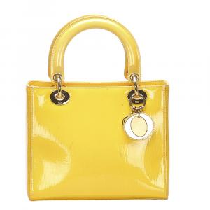 Dior Yellow Patent Leather Lady Dior Bag