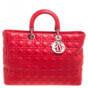 Dior Red Leather Extra Large Lady Dior Tote