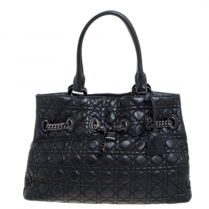 Dior Black Cannage Leather Chri Chri Tote