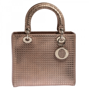 Dior Metallic Rose Gold Microcannage Leather Medium Lady Dior Tote