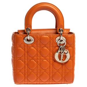 Dior Orange Cannage Leather Small Lady Dior Tote