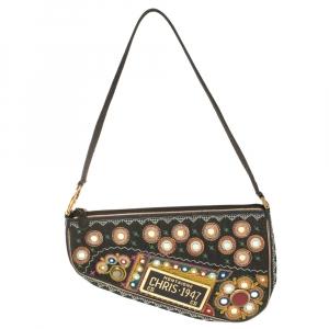 Dior Multicolor Fabric 1947 Montaigne Chris License Plate Saddle Bag