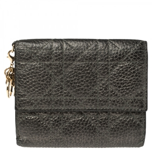 Dior Metallic Cannage Quilted Leather Lady Dior Compact French Wallet