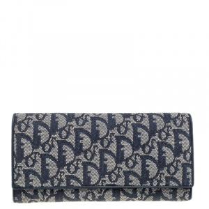 Dior Blue Denim Oblique Canvas and Leather Trim Continental Wallet