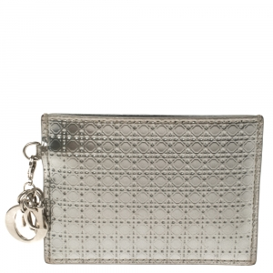 Dior Metallic Silver Micro Cannage Leather Lady Dior Card Holder