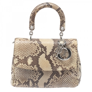 Dior Beige Python Small Be Dior Flap Top Handle Bag