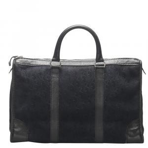 Dior Black Leather-trimmed Suede Oblique Boston Bag