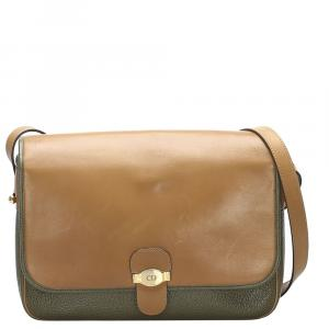Dior Brown and Green Leather Crossbody Bag
