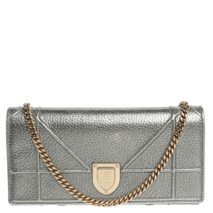 Dior Metallic Silver Leather Diorama Wallet On Chain