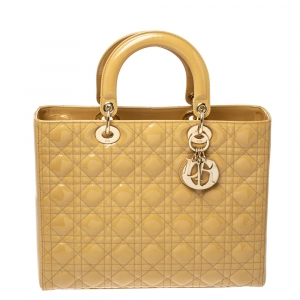 Dior Medallion Yellow Cannage Patent Leather Large Lady Dior Tote