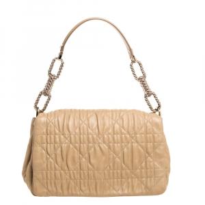 Dior Beige Cannage Quilted Leather Large Flap Shoulder Bag