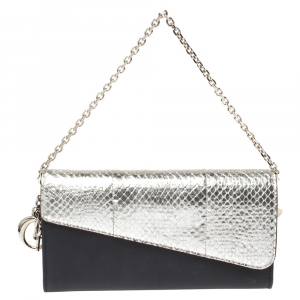 Dior Black/Silver Leather and Python Flap Wallet on Chain