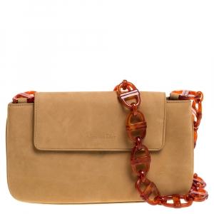 Dior Tan Vintage Nubuck Leather Flap Tortoise Chain Shoulder Bag