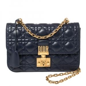Dior Blue Leather Dioraddict Flap Shoulder Bag