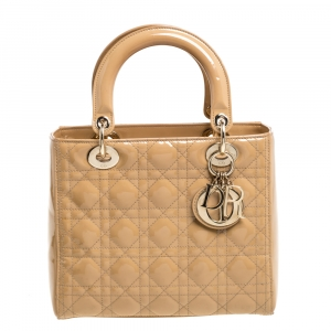 Dior Beige Cannage Patent Leather Medium Lady Dior Tote