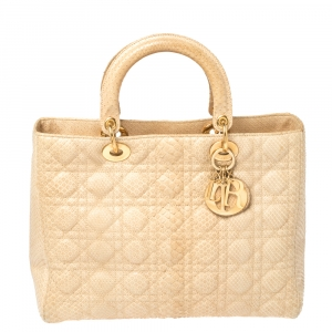 Dior Beige Python Large Limited Edition Lady Dior Tote